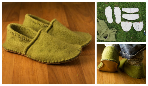 DIY Recycled Sweater Slippers Free Sewing Pattern and Tutorial - Any Size