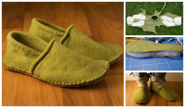 DIY Recycled SweateDIY Recycled Sweater Slippers Sew Free Pattern & Tutorial - Any Size