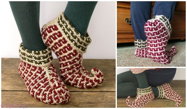 Knit Adult Elf Slippers Free Knitting Pattern