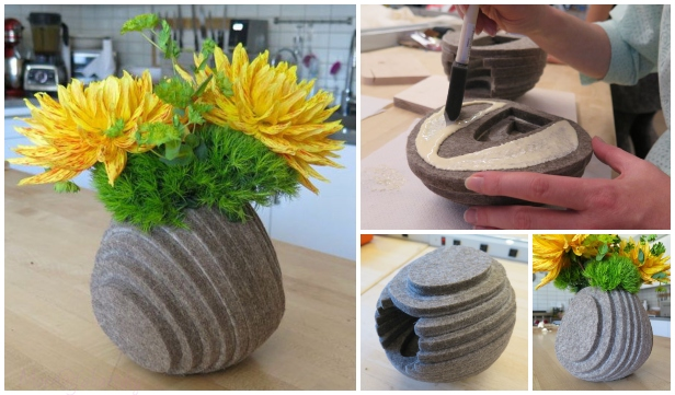 No-Sew Layered Felt Vase DIY Tutorial