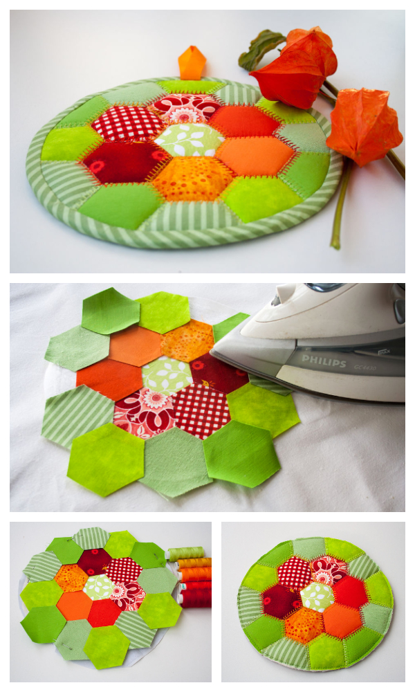 DIY Autumn Hexi Hot Pad Free Sewing Pattern & Tutorial
