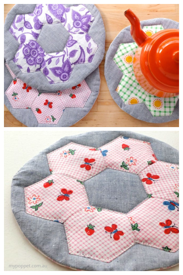 DIY Fabric Hexi Hotpad Free Sewing Pattern & Tutorial