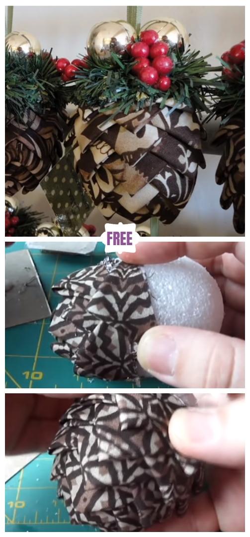 No-Sew Fabric Pine Cone Christmas Ornament DIY Tutorial