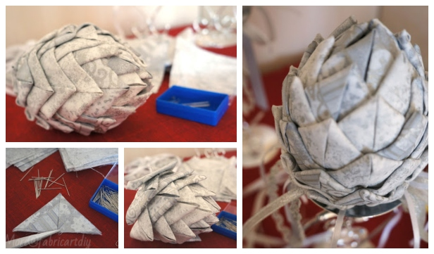 No-Sew Fabric Pine Cone Christmas Ornament DIY Tutorial