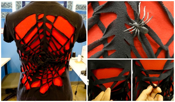 No-Sew Spider Web T-shirt Refashion DIY Tutorial