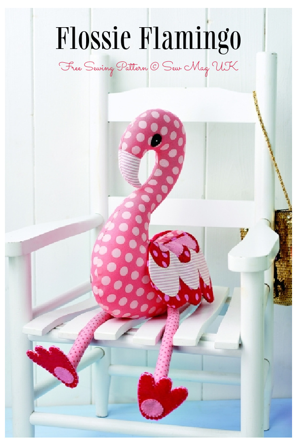 DIY Fabric Flossie Flamingo Toy Free Sewing Pattern