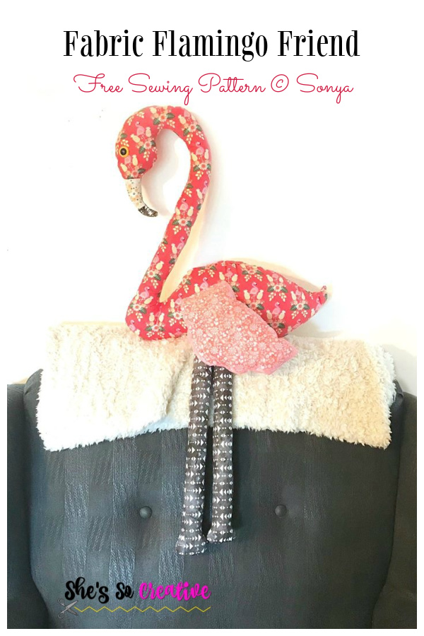DIY Fabric Flamingo Friend Toy Free Sewing Pattern