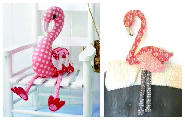 DIY Fabric Flamingo Toy Free Sewing Patterns