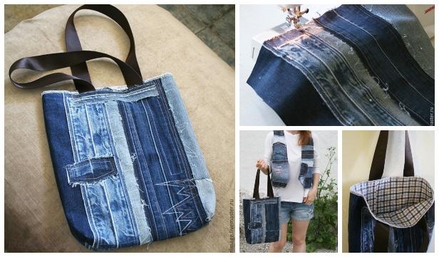 DIY Demin Jean Summer Stripy Bag Sew Free Pattern & Tutorial