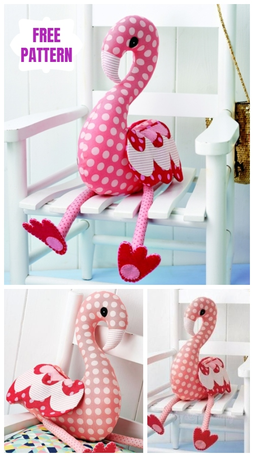 DIY Flossie Flamingo Animal Toy Sew Pattern & Tutorial