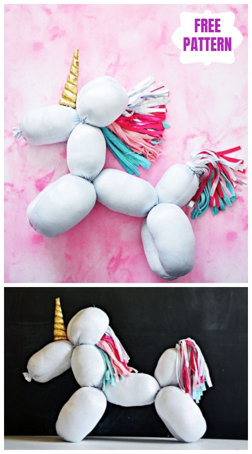 Easy DIY Stuffed Balloon Unicorn Animal Toy Sew Pattern & Tutorial