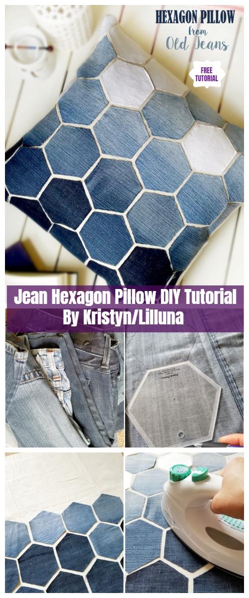 DIY Hexagon Jean Pillow Sew Free Pattern & Tutorial