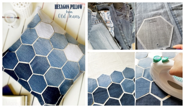 DIY Hexagon Jean Pillow Sew Free Pattern & Tutorial