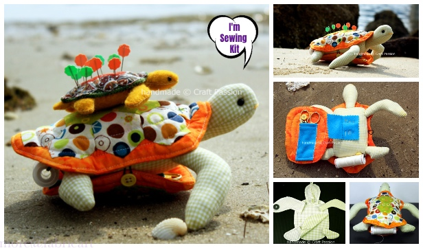 DIY Turtle Sewing Kit & Pincushion Combo Free Sew Patterns & Tutorials
