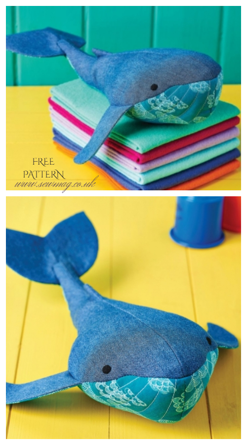 DIY Recycled Jean Whale Plush Free Sewing Patterns