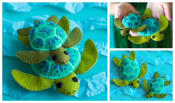 DIY Felt Turtle Stuffie Free Sew Patterns & Tutorials
