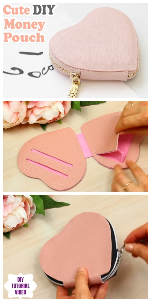 DIY No Sew Leather Heart Purse Tutorial – Video