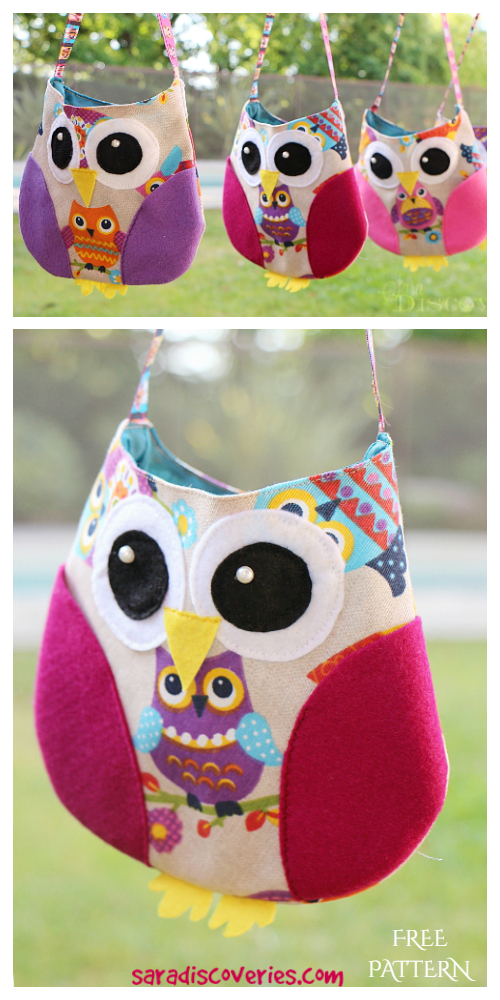 DIY Fabric Owl Bag Free Sewing Pattern and Tutorial