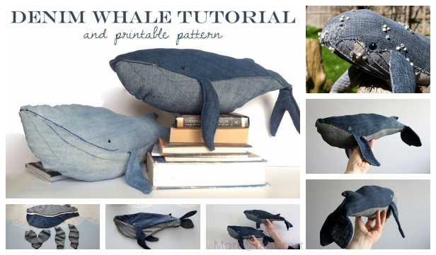DIY Recycled Demin Jean Whale Plush Free Sew Patterns