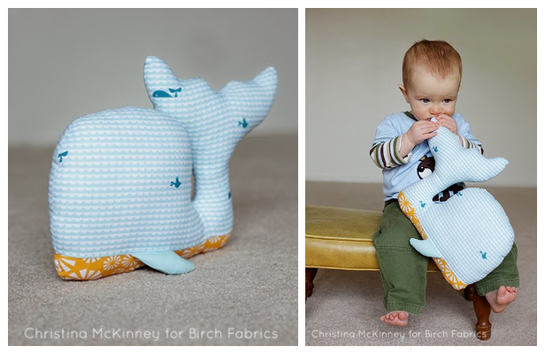 DIY Fabric Whale Plush Free Sew Patterns - Big size