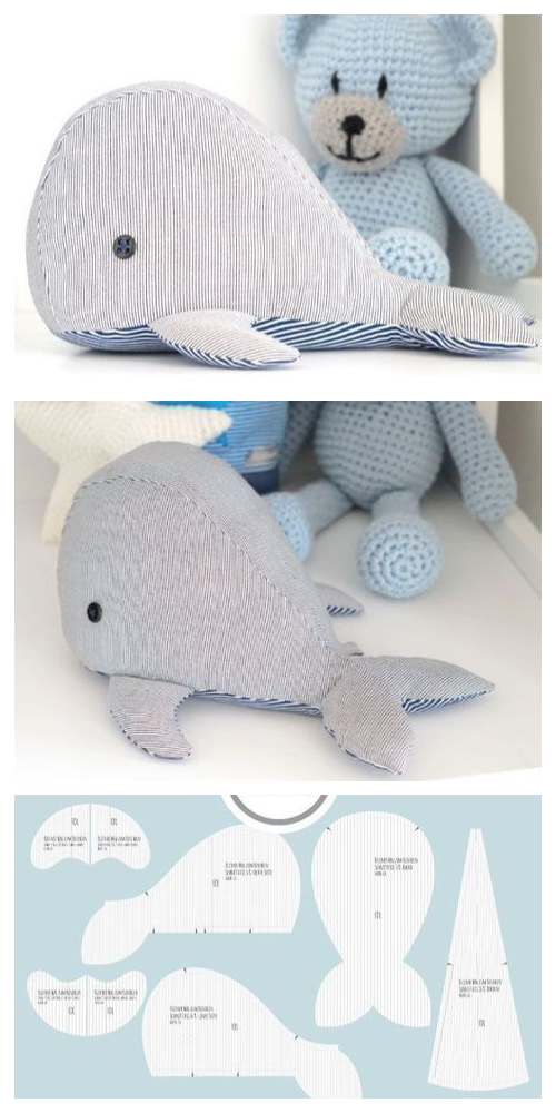 DIY Fabric Whale Plush Free Sewing Pattern