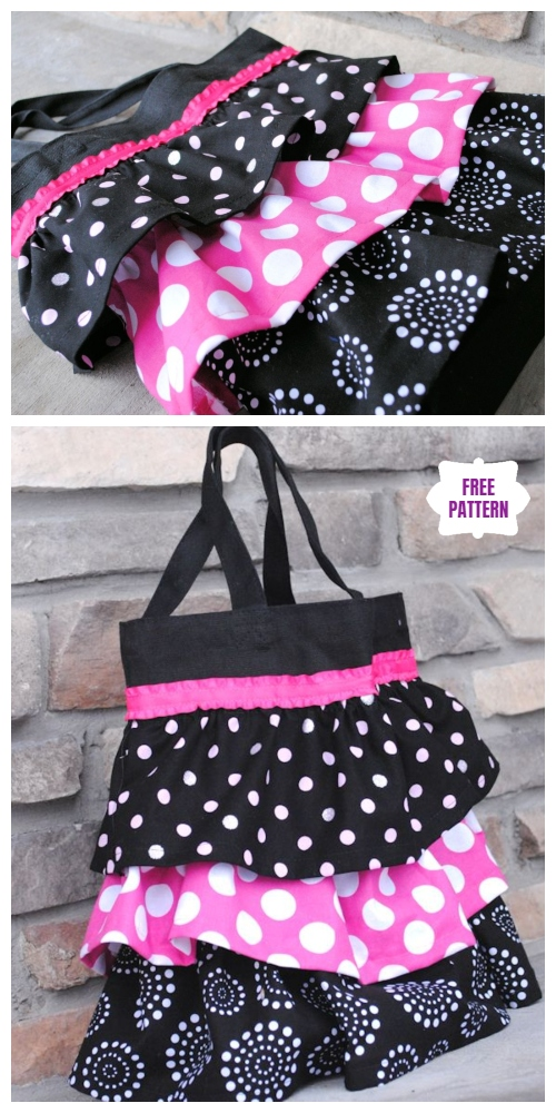 DIY Ruffle Tote Bag Free Sewing Pattern & Tutorial