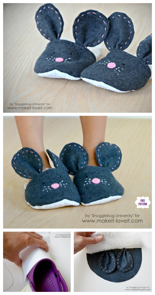 DIY Mouse Slippers Free Sewing Pattern & Tutorial