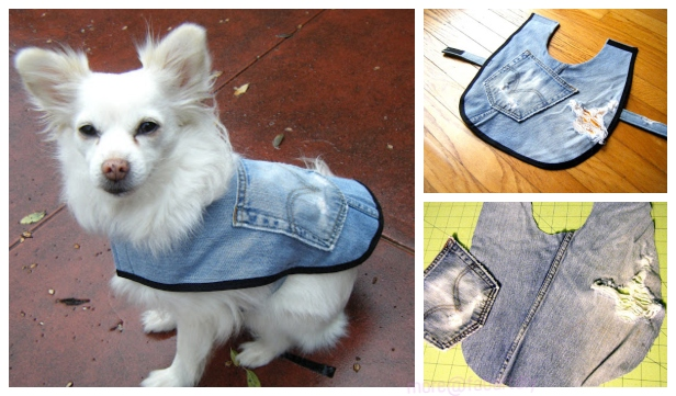 5 DIY Recycled Jean Dog Coat Free Sewing Patterns & Tutorials