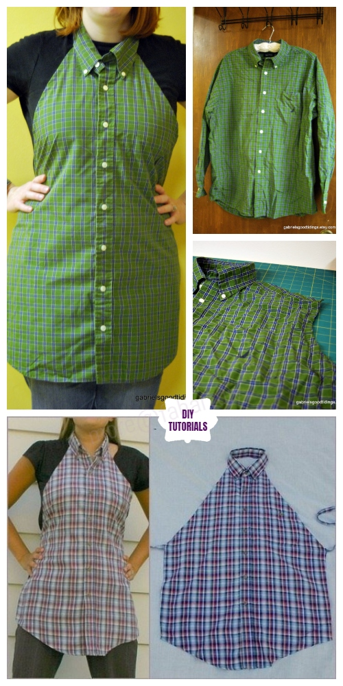 DIY Repurposed Apron From Shirts Free Sew Patterns & Tutorials