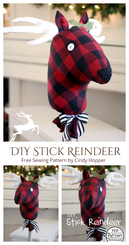 DIY Fabric Stick Reindeer Free Sewing Patterns & Tutorials