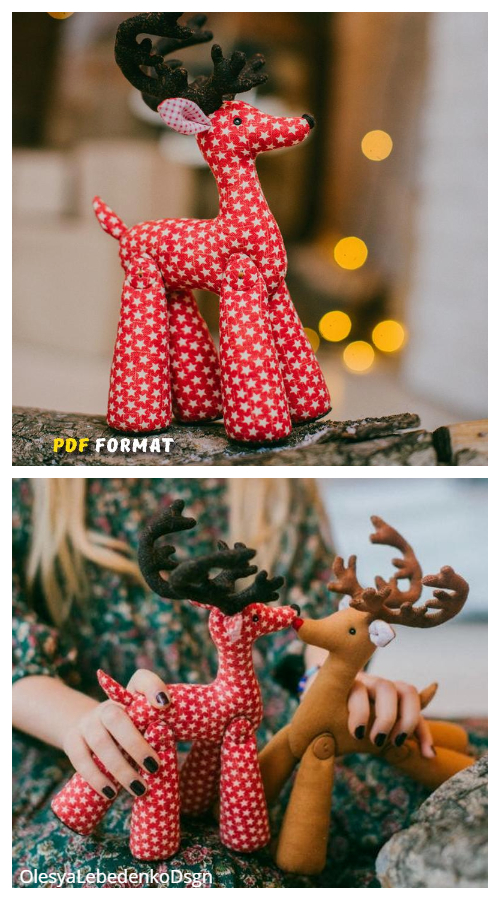 DIY Fabric Reindeer Sewing Patterns & Tutorials