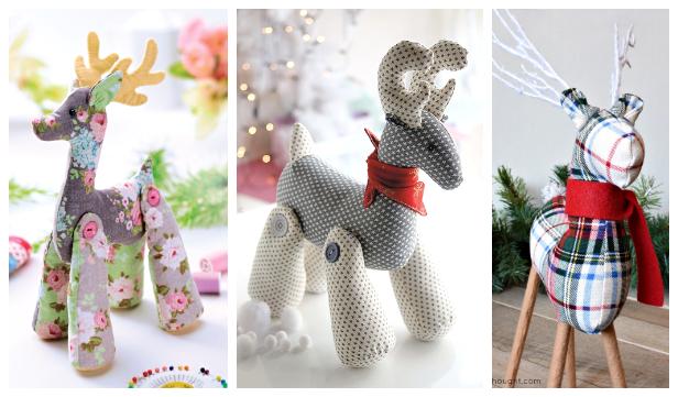 DIY Fabric Christmas Reindeer Free Sewing Patterns & Tutorials