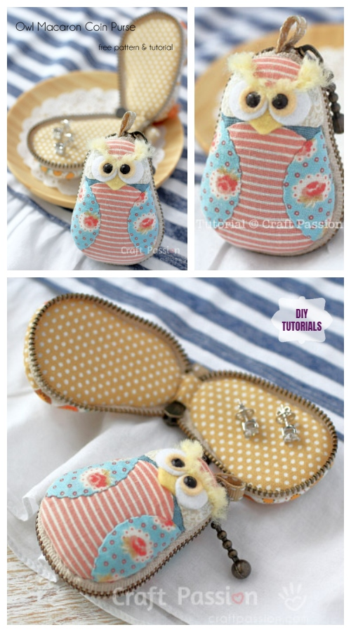 DIY Owl Macaron Coin Purse Free Sewing Pattern & Tutorial
