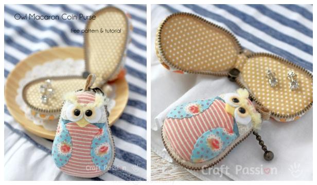 DIY Owl Macaron Coin Purse Free Sewing Pattern & Tutorial