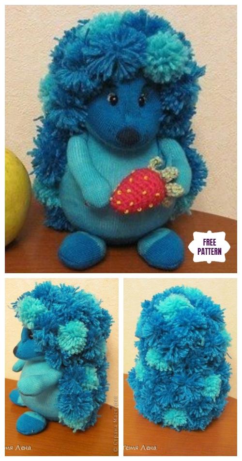 DIY Pom Pom Sock Hedgehog Free Sew Pattern & Tutorial