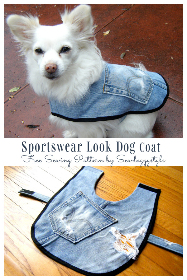 DIY Recycled Denim Jean Dog Coat Free Sewing Pattern & Tutorials