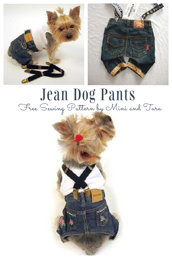DIY Recycled Denim Jean Dog Pants Free Sewing Pattern