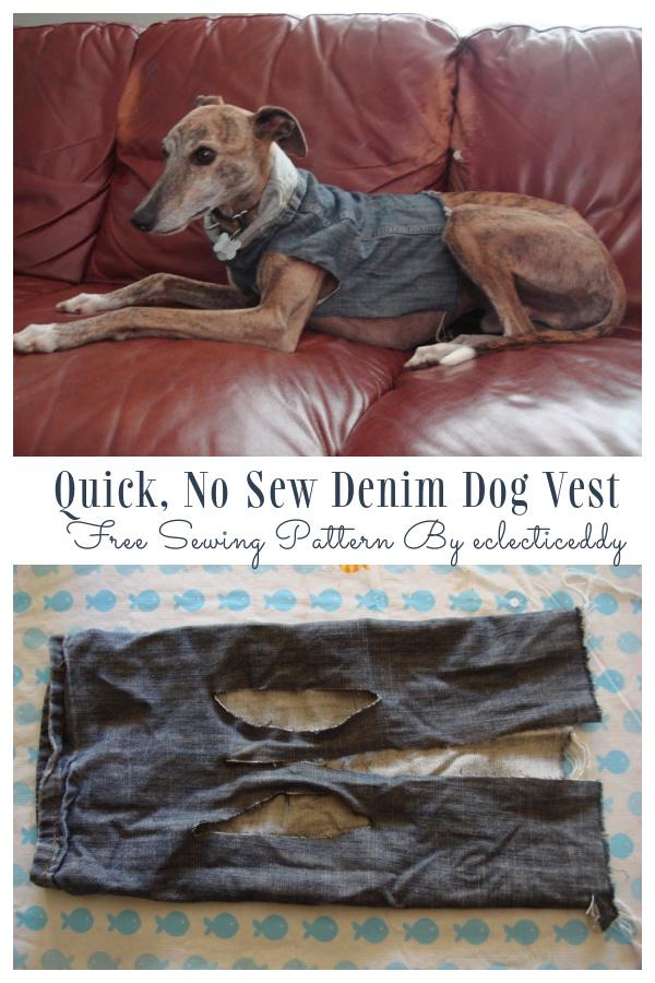 Quick, No Sew Denim Dog Vest DIY Tutorial
