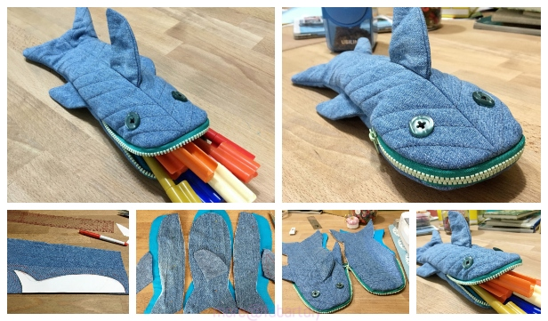 DIY Shark Pencil Case Free Sew Pattern & Tutorial