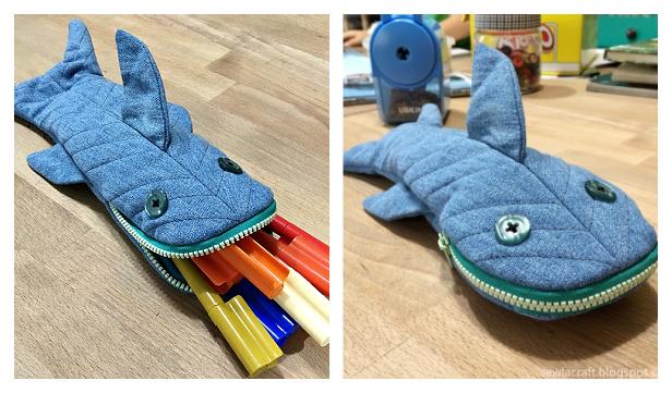 DIY Shark Pencil Case Free Sewing Pattern & Tutorial