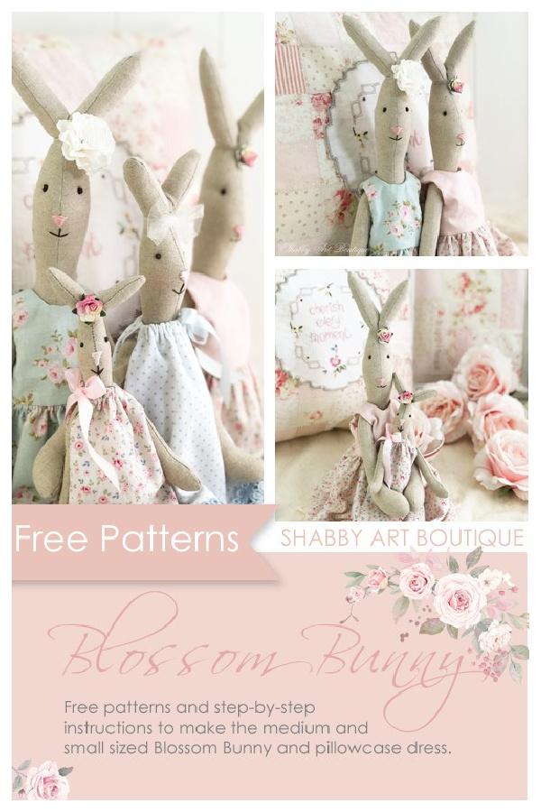 DIY Vintage Blossom Bunny Free Sewing Patterns & Tutorials