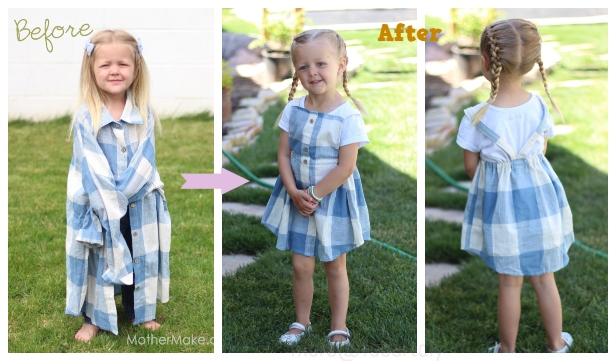 Refashioned Pinafore Dress From Men Shirt DIY Tutorial