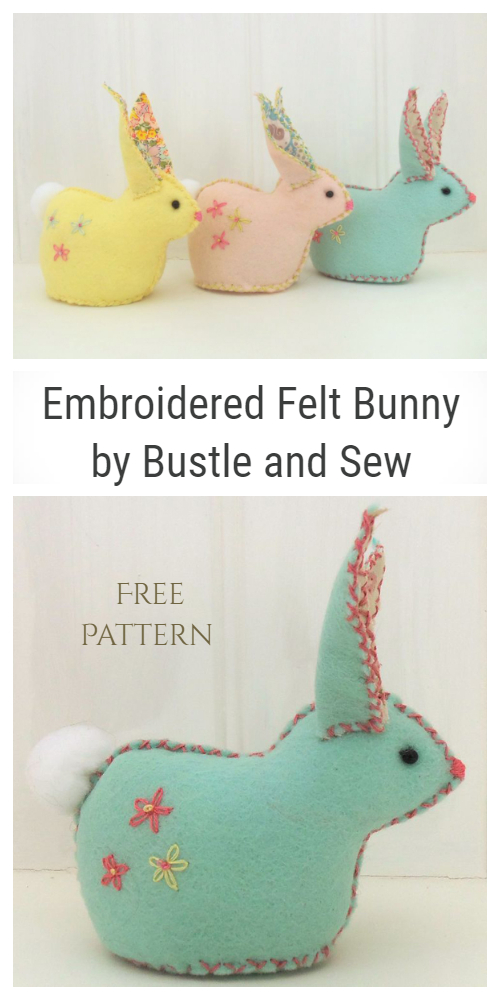 DIY Felt Embroidered Easter Bunny Free Sewing Pattern & Tutorial