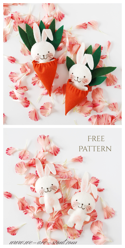 DIY Little Felt Easter Bunny in Carrot Bag Free Sewing Pattern & Tutorial