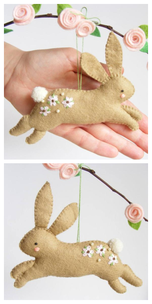 DIY Felt Easter Hopping Bunny Sewing Pattern & Tutorial