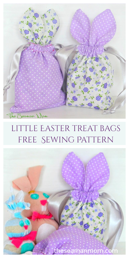 DIY Easter Bunny Drawstring Treat Bag Free Sewing Patterns