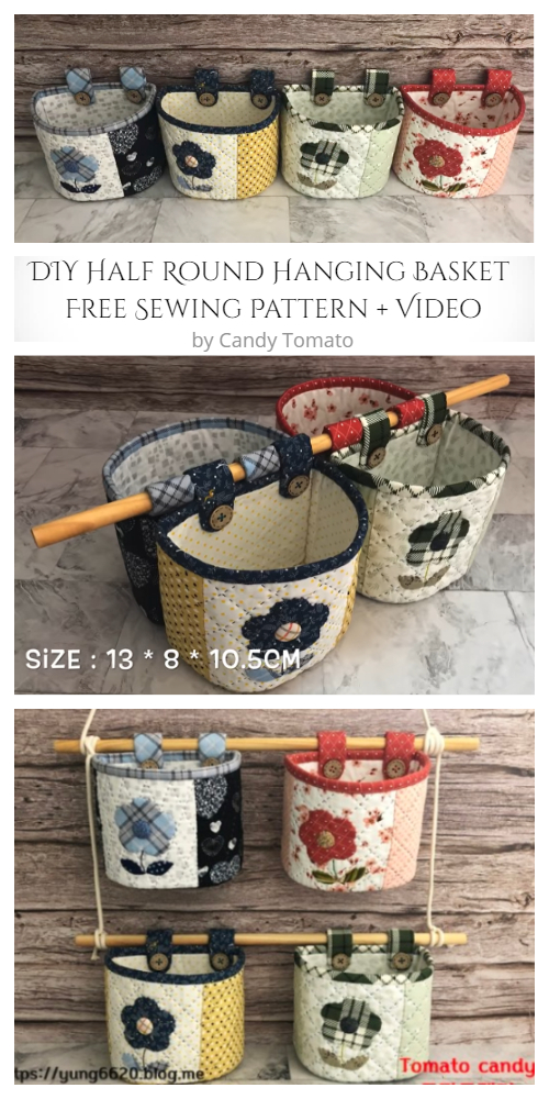 Half Round Hanging Basket Sewing Free Pattern - DIY Tutorial