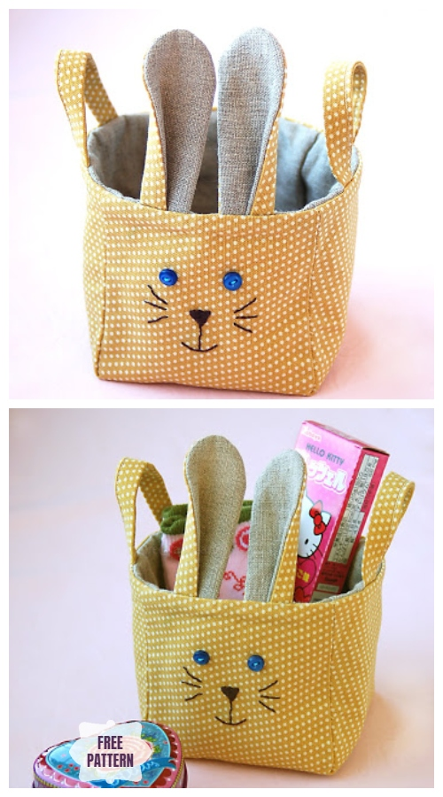DIY Easter Fabric Bunny Basket Free Sewing Pattern