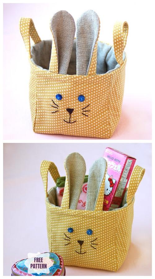 DIY Easter Fabric Bunny Basket Free Sewing Pattern