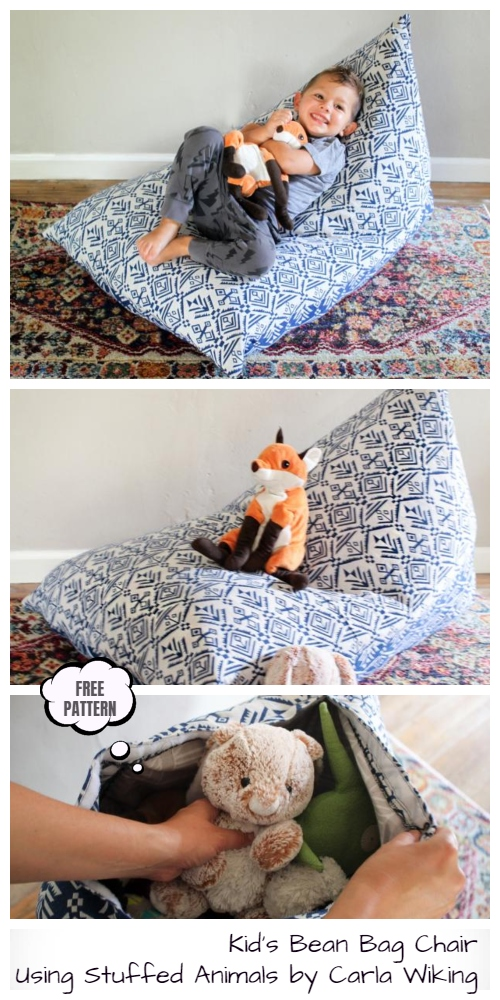 DIY Toy Storage Bean Bag Chair Free Sewing Patterns & Tutorials